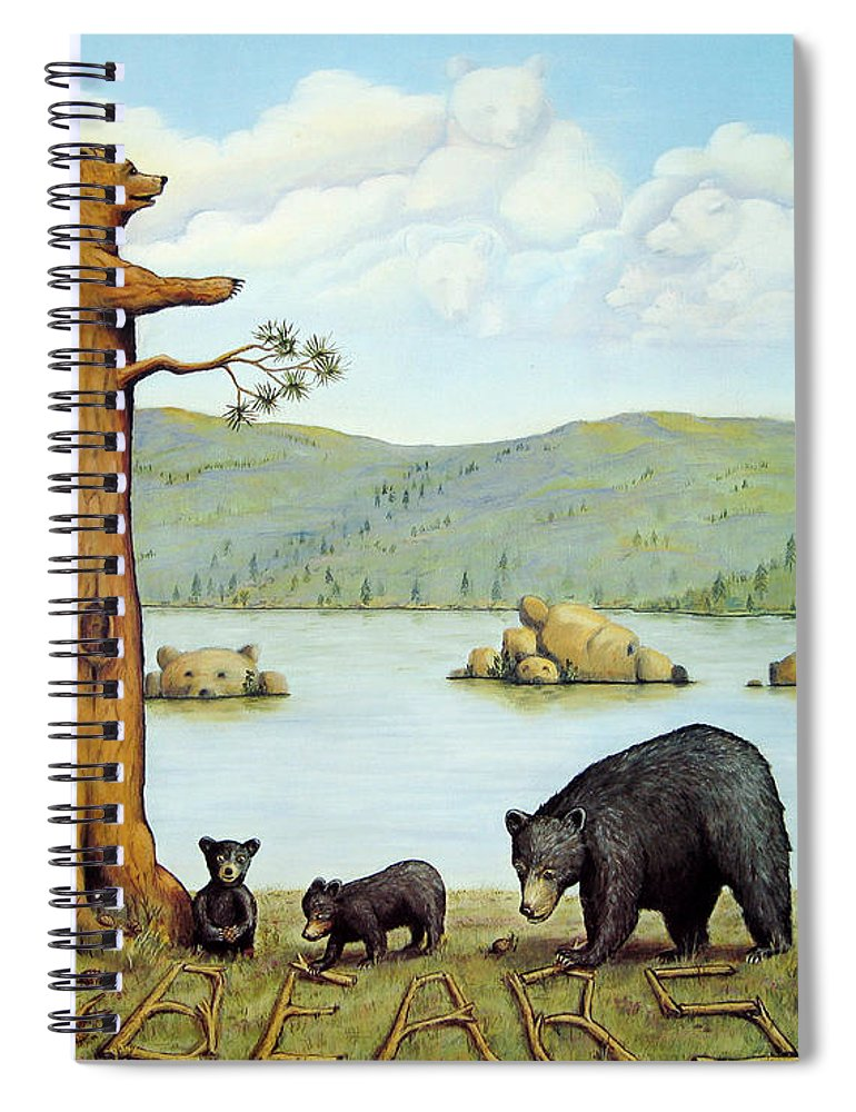 Bears Spiral Notebook featuring the painting 27 Bears by Jerome Stumphauzer