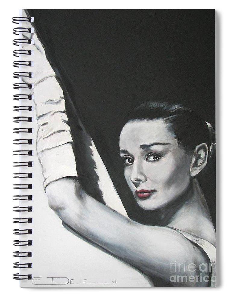 Audrey Hepburn Spiral Notebook featuring the painting Audrey Hepburn by Eric Dee