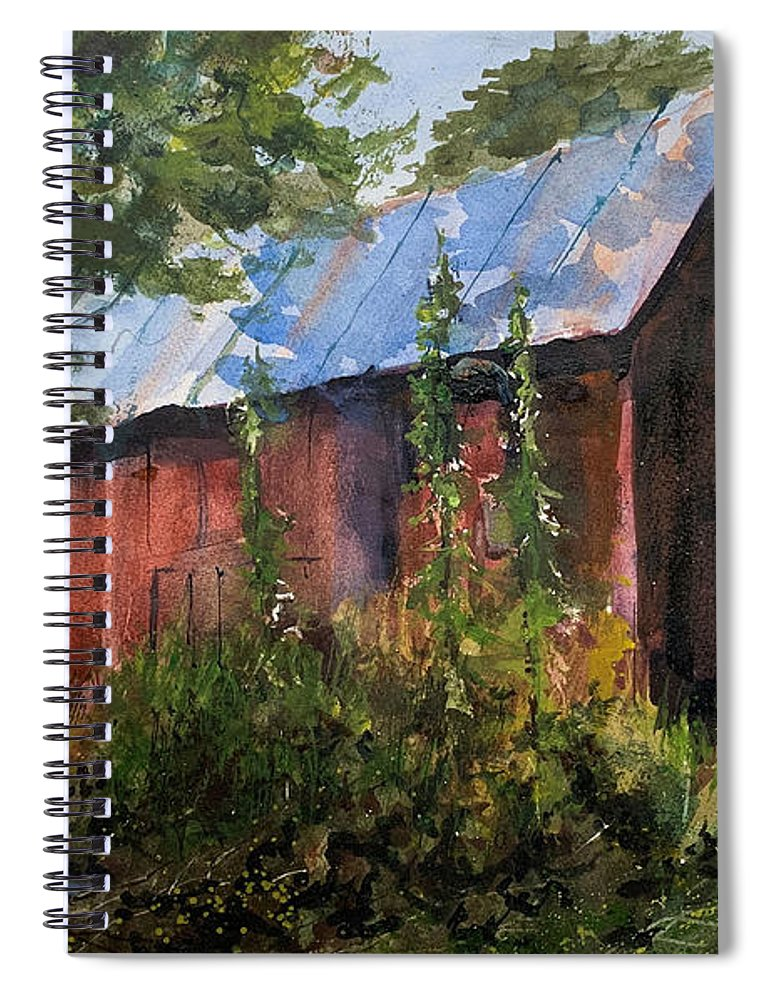 Rural. Barn Spiral Notebook featuring the painting Abandoned at Aum Creek by Charles Rowland
