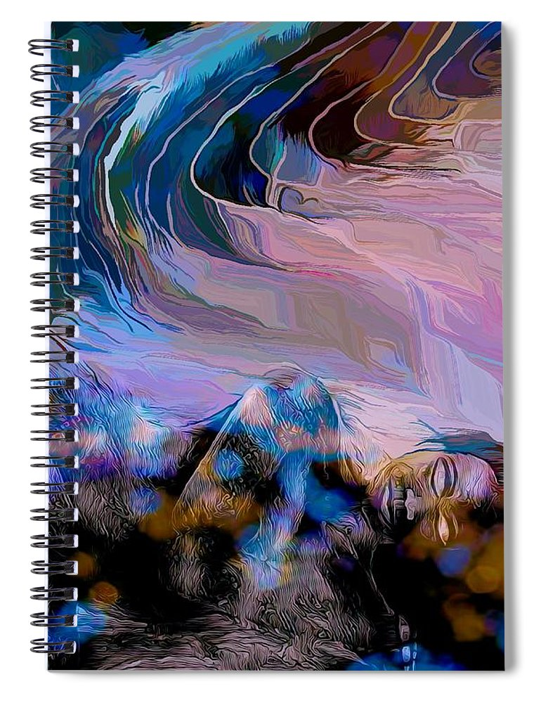 Modern Abstract Art Spiral Notebook featuring the mixed media Abstract Island Girl Slumbering On The Beach by Joan Stratton