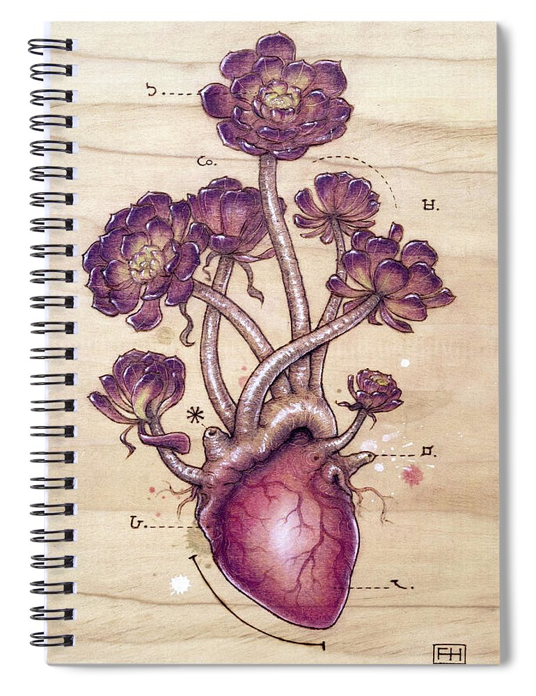 Pyrography Spiral Notebook featuring the pyrography Aeonium Heart by Fay Helfer