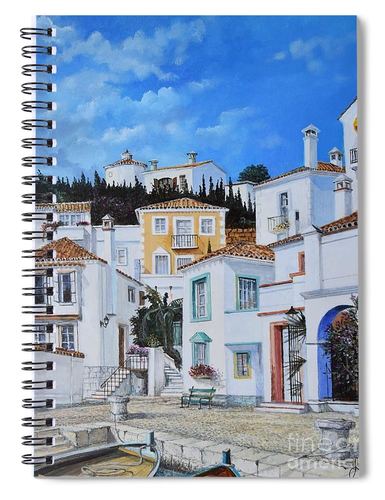 City Spiral Notebook featuring the painting Afternoon Light In Montenegro by Sinisa Saratlic