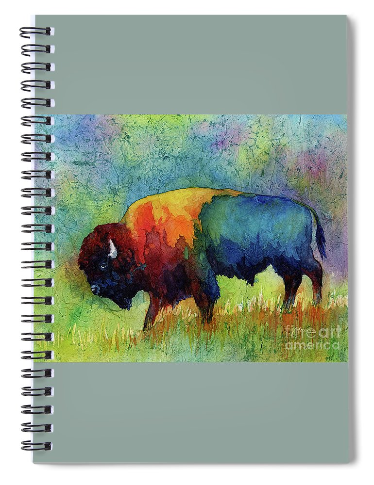 Bison Spiral Notebook featuring the painting American Buffalo III by Hailey E Herrera