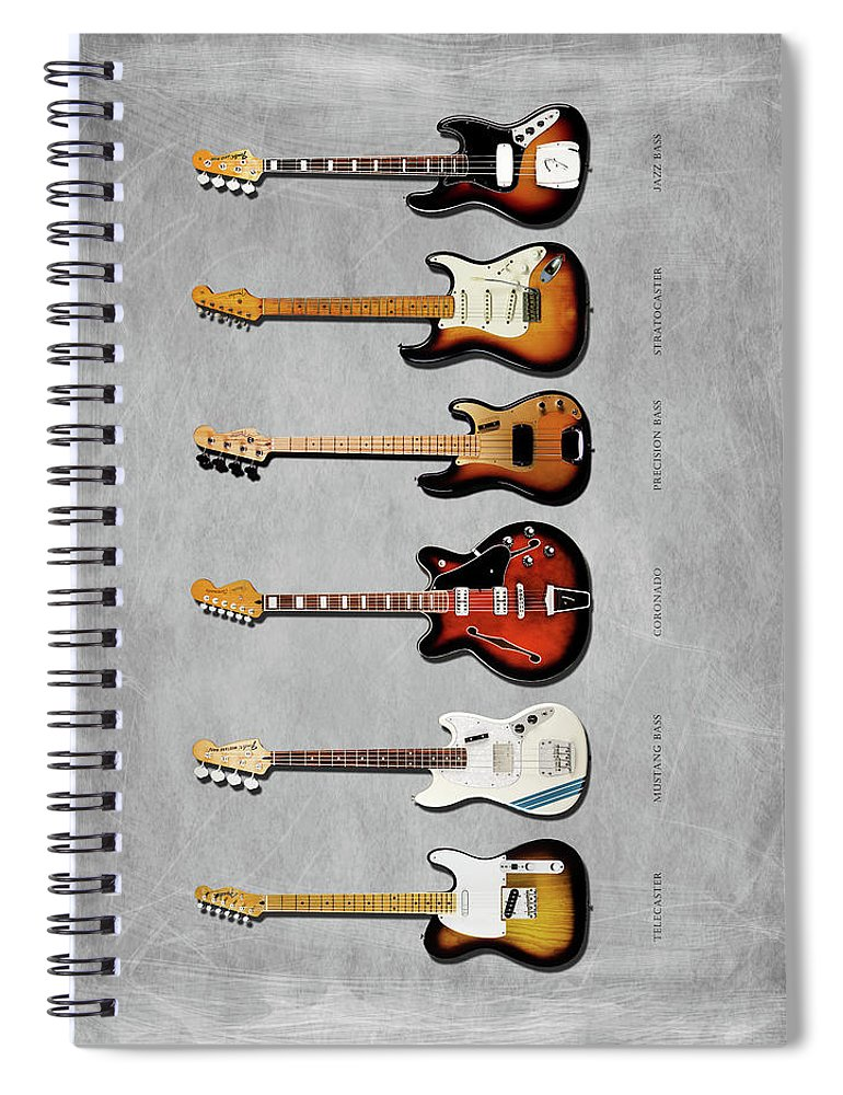 Fender Stratocaster Spiral Notebook featuring the photograph Fender Guitar Collection by Mark Rogan