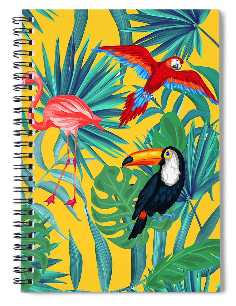 Parrot Spiral Notebook featuring the digital art Yellow Tropic by Mark Ashkenazi