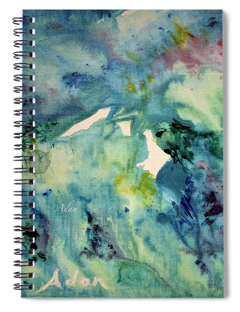 Paintings By Felipe Adan Lerma Spiral Notebook featuring the painting Ridges Of Spring Light 6x6 Acrylic Watercolor #2 by Felipe Adan Lerma