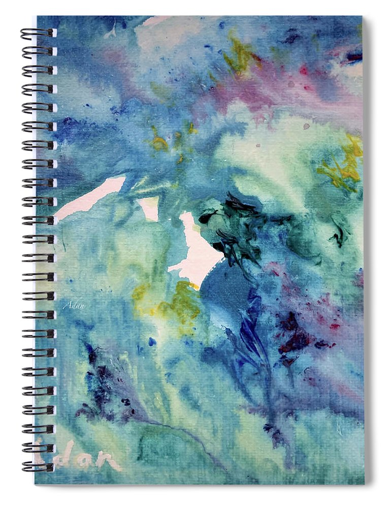 Blue Abstract Spiral Notebook featuring the painting Ridges of Spring Light 6x6 Acrylic Watercolor #2 by Felipe Adan Lerma