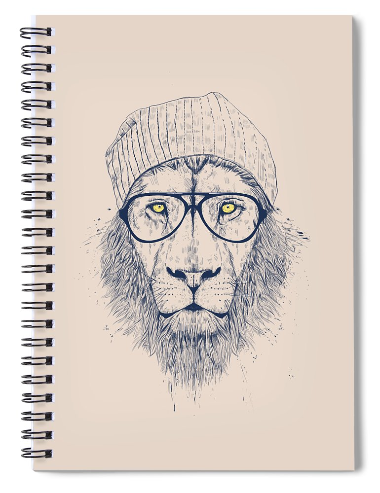 Lion Spiral Notebook featuring the drawing Cool lion by Balazs Solti