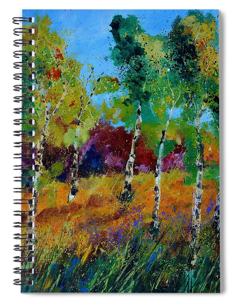 Landscape Spiral Notebook featuring the painting Aspen trees in autumn by Pol Ledent