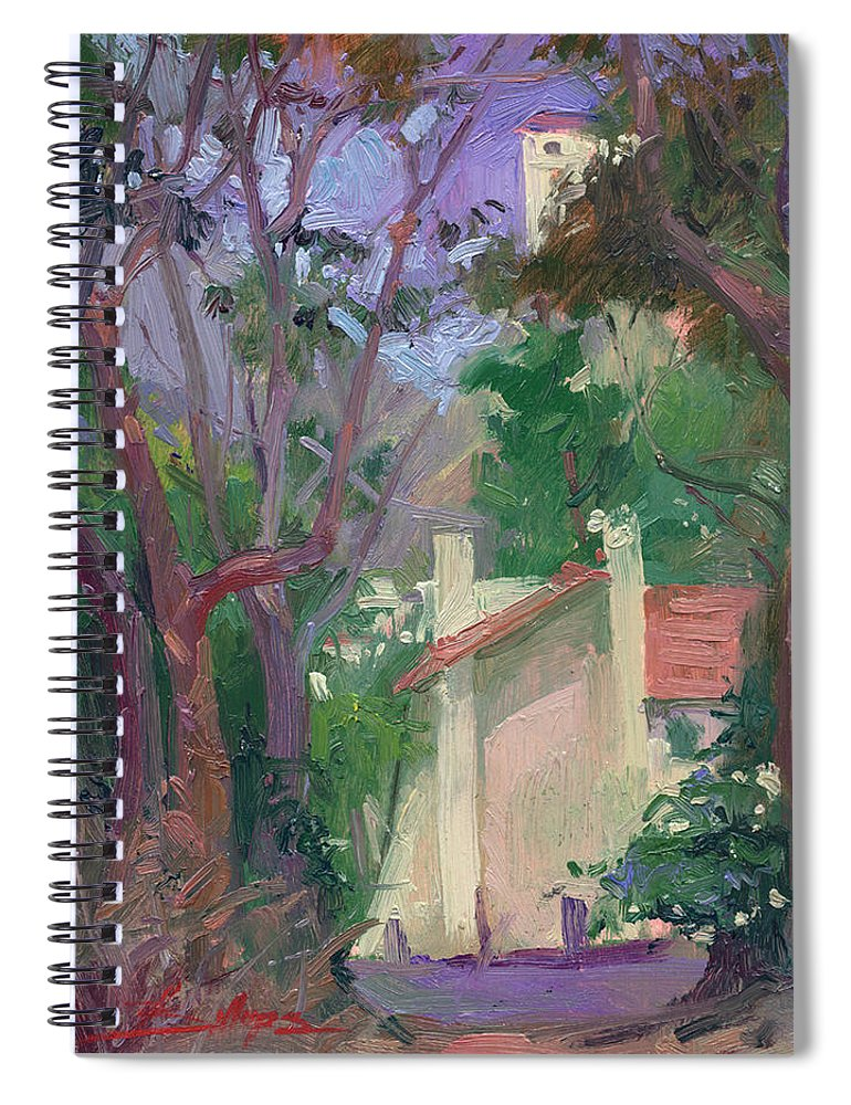 Pleinair Painting Spiral Notebook featuring the painting At Jourey's End Plein Air by Betty Jean Billups