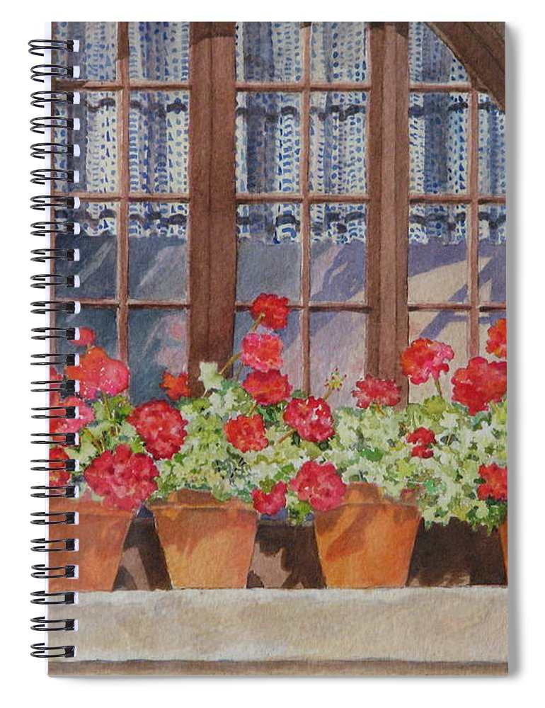 Watercolor Spiral Notebook featuring the painting August at the Auberge by Mary Ellen Mueller Legault