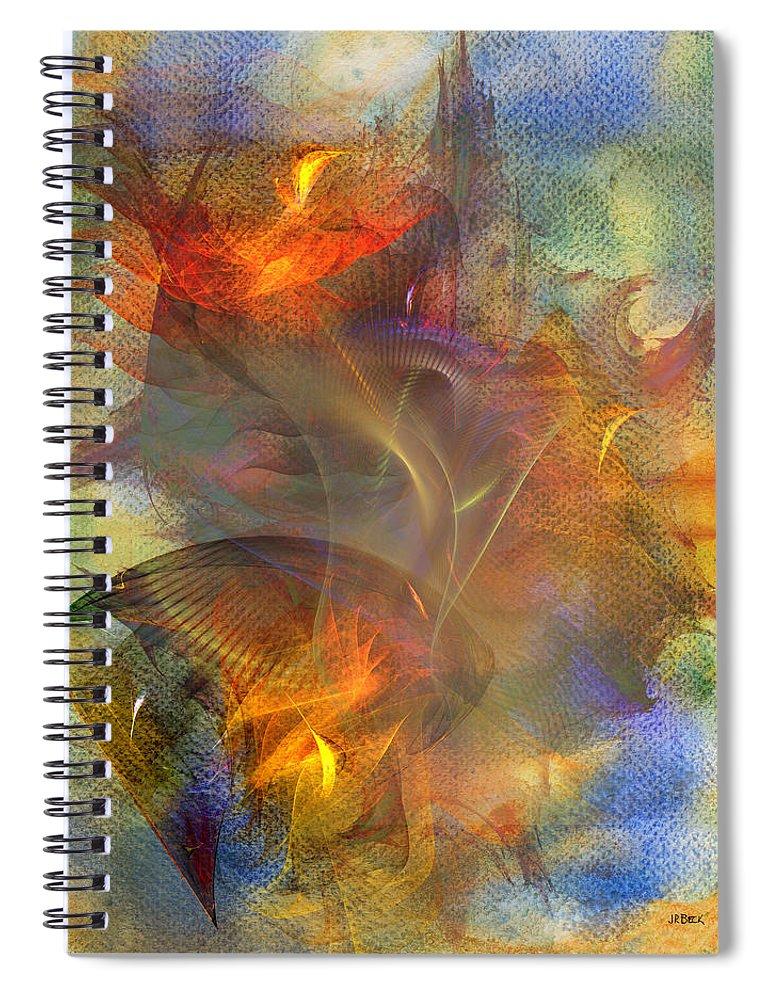 Autumn Ablaze Spiral Notebook featuring the digital art Autumn Ablaze by John Robert Beck