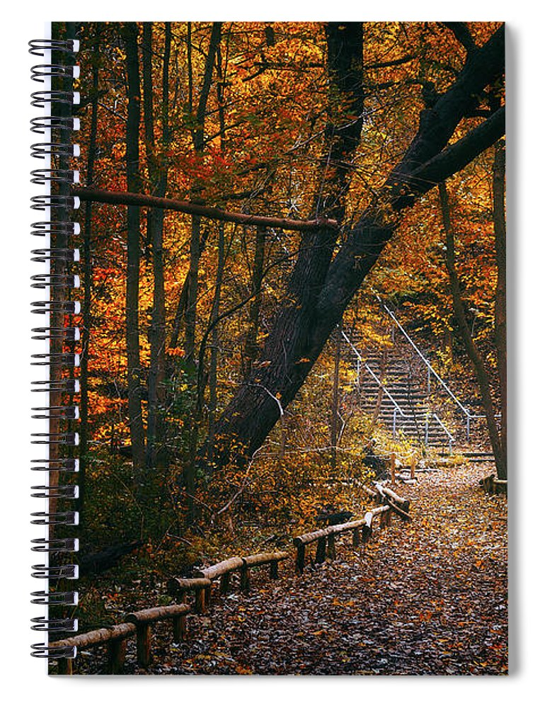 Fall Spiral Notebook featuring the photograph Autumn in Riverside Park by Scott Norris
