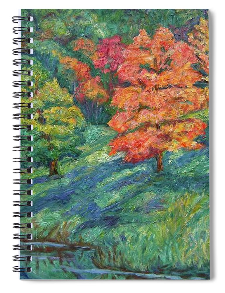 Landscape Spiral Notebook featuring the painting Autumn Pond by Kendall Kessler