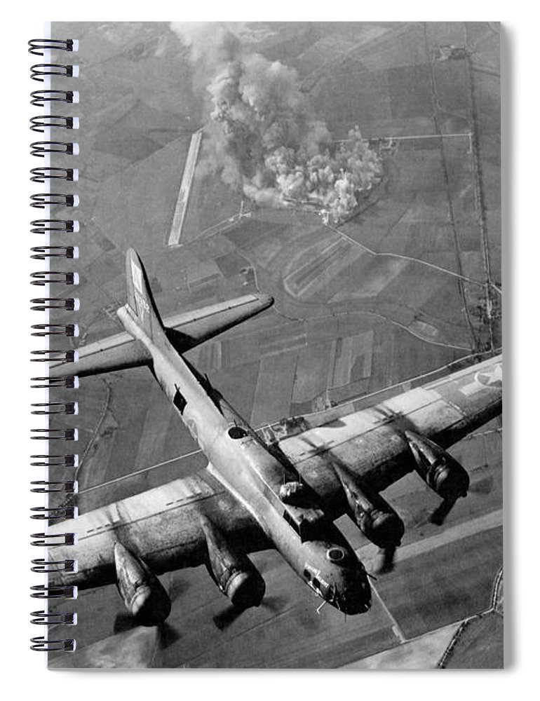 B 17 Bomber Spiral Notebook featuring the photograph B-17 Bomber Over Germany - WW2 - 1943 by War Is Hell Store