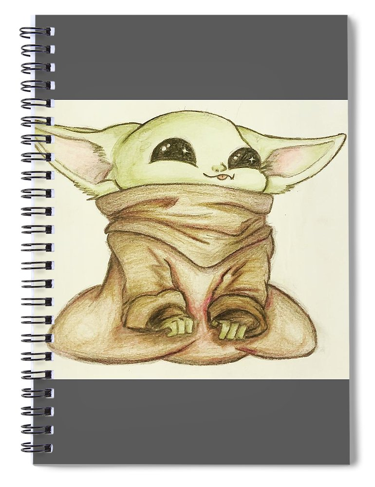 Baby Spiral Notebook featuring the drawing Baby Yoda by Tejay Nichols