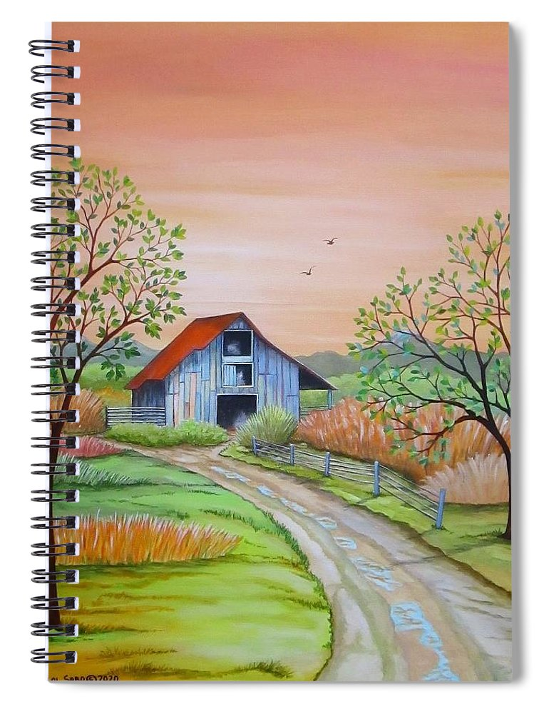 Original Spiral Notebook featuring the painting Back to the Barn by Carol Sabo