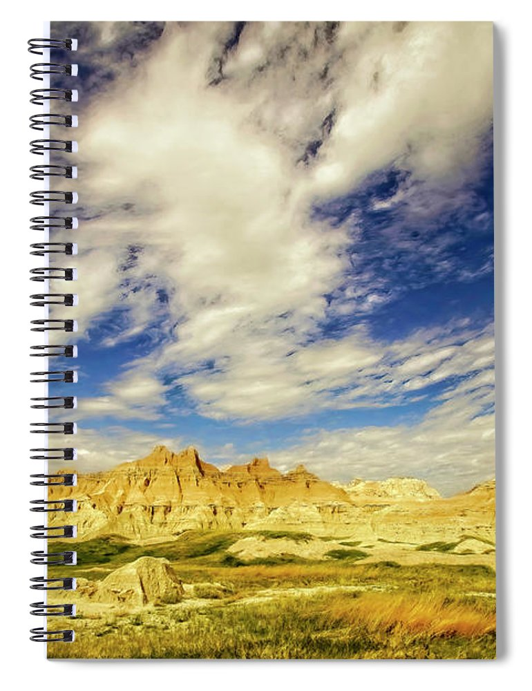 Badlands Spiral Notebook featuring the photograph Badlands Showdown by Mike Braun