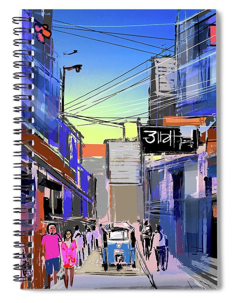 Cityscape Spiral Notebook featuring the digital art Bangkok City by Anil Nene