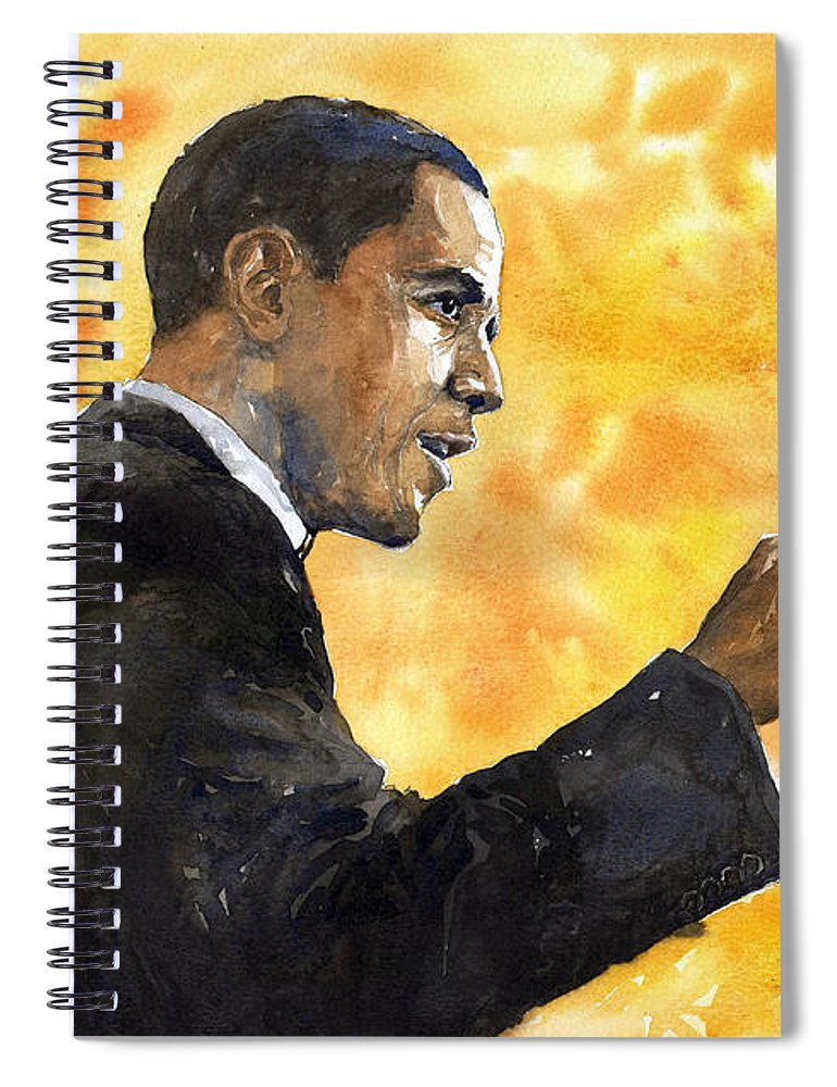 Watercolour Spiral Notebook featuring the painting Barack Obama 02 by Yuriy Shevchuk