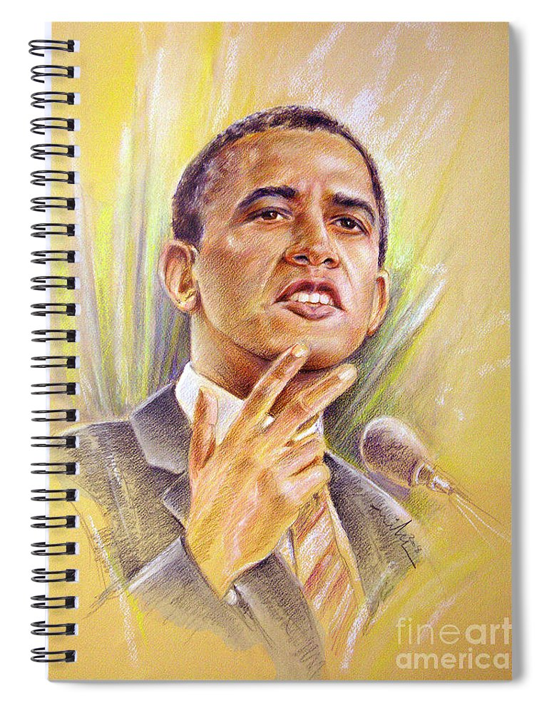 Drawing Persons Spiral Notebook featuring the painting Barack Obama Yes We Can by Miki De Goodaboom