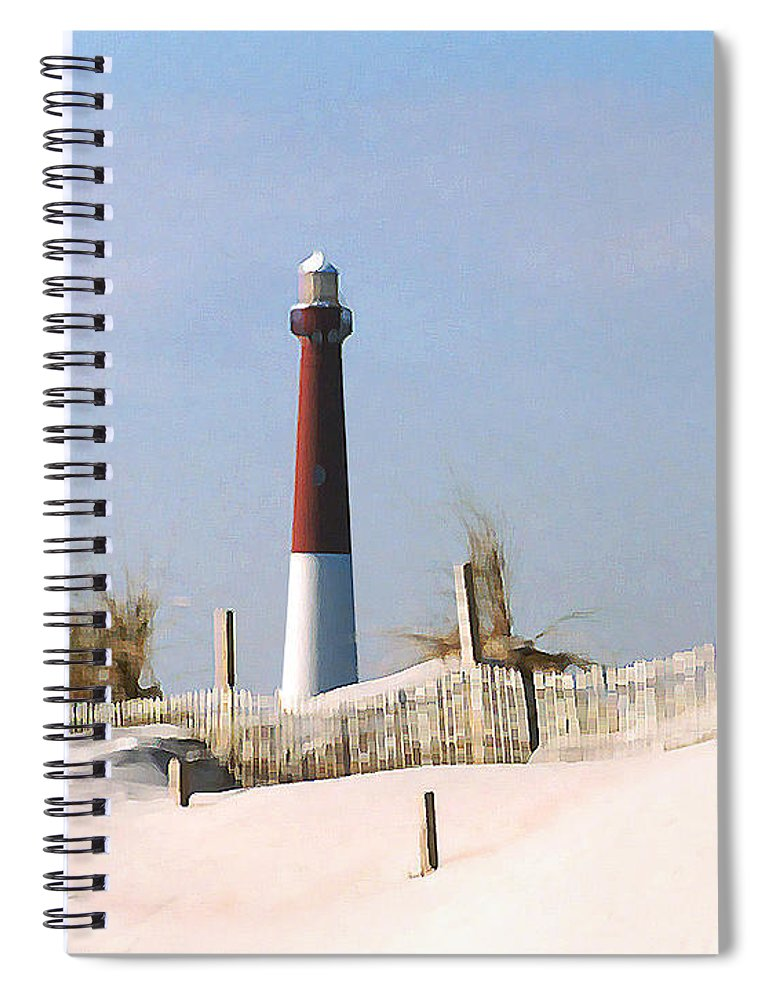 Barnegat Spiral Notebook featuring the photograph Barnegat Lighthouse by Steve Karol