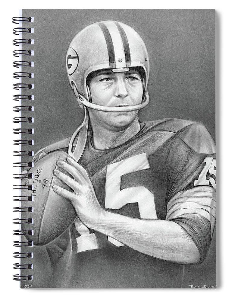 Bart Starr Spiral Notebook featuring the drawing Bart Starr - Pencil by Greg Joens