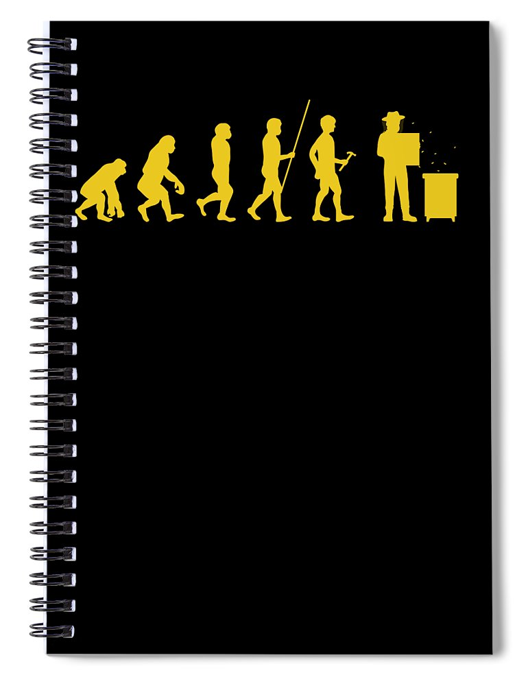 Bee Keeping Spiral Notebook featuring the digital art Beekeeper Evolution Honey Bee Farmer Honeycomb Farming Apiarist by Thomas Larch