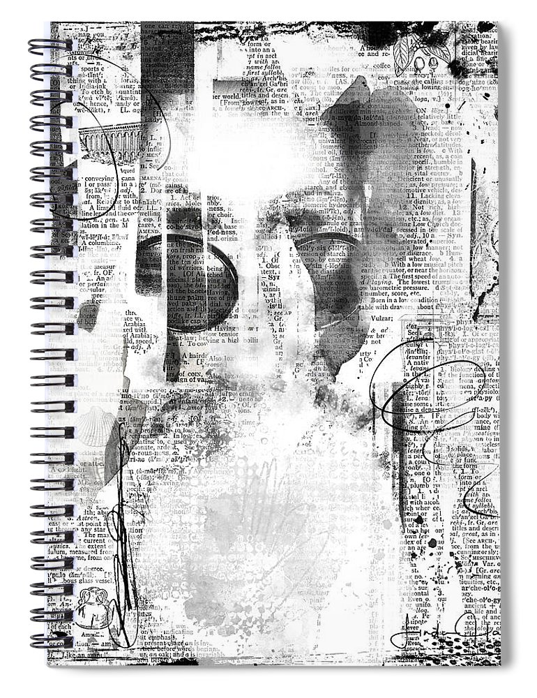Abstract Spiral Notebook featuring the digital art Behind the Shades by Linda Lee Hall
