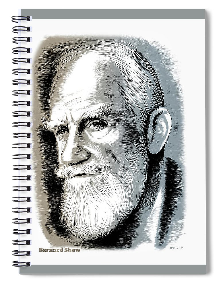 Bernard Shaw Spiral Notebook featuring the mixed media Bernard Shaw - Mixed Media by Greg Joens