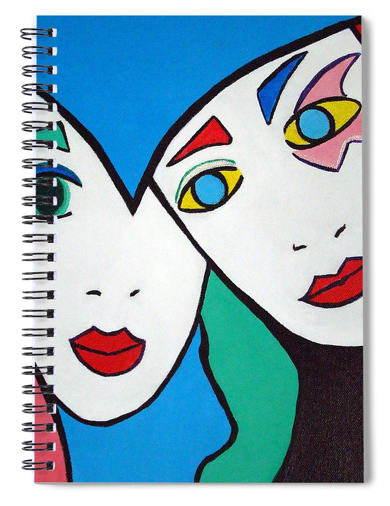 Pop-art Spiral Notebook featuring the painting Best Friends by Silvana Abel