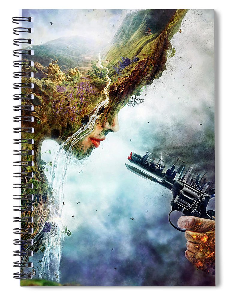 Betrayal Spiral Notebook featuring the digital art Betrayal by Mario Sanchez Nevado