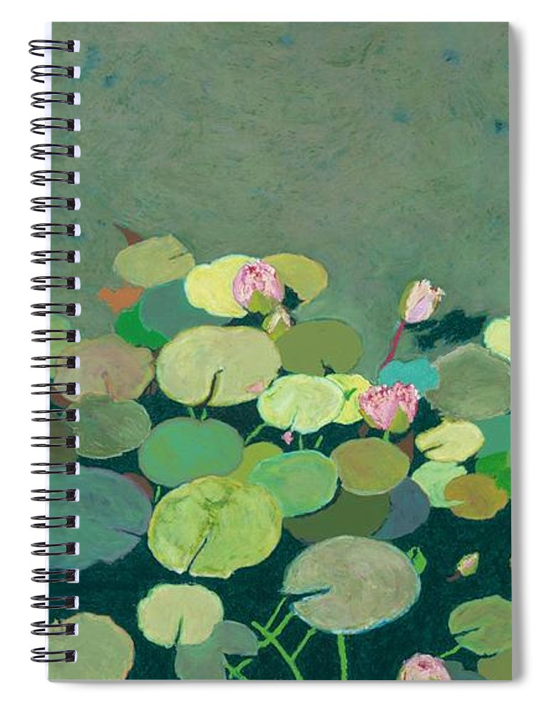Landscape Spiral Notebook featuring the painting Bettys Serenity Pond by Allan P Friedlander