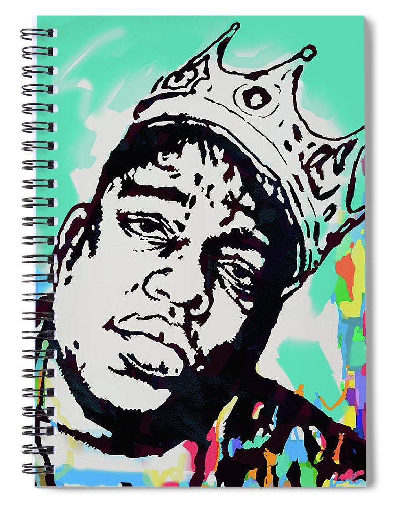 Biggie Smalls Colour Drawing Art Poster - Pop Art Spiral Notebook featuring the mixed media Biggie Smalls - pop art poster 1 by Kim Wang