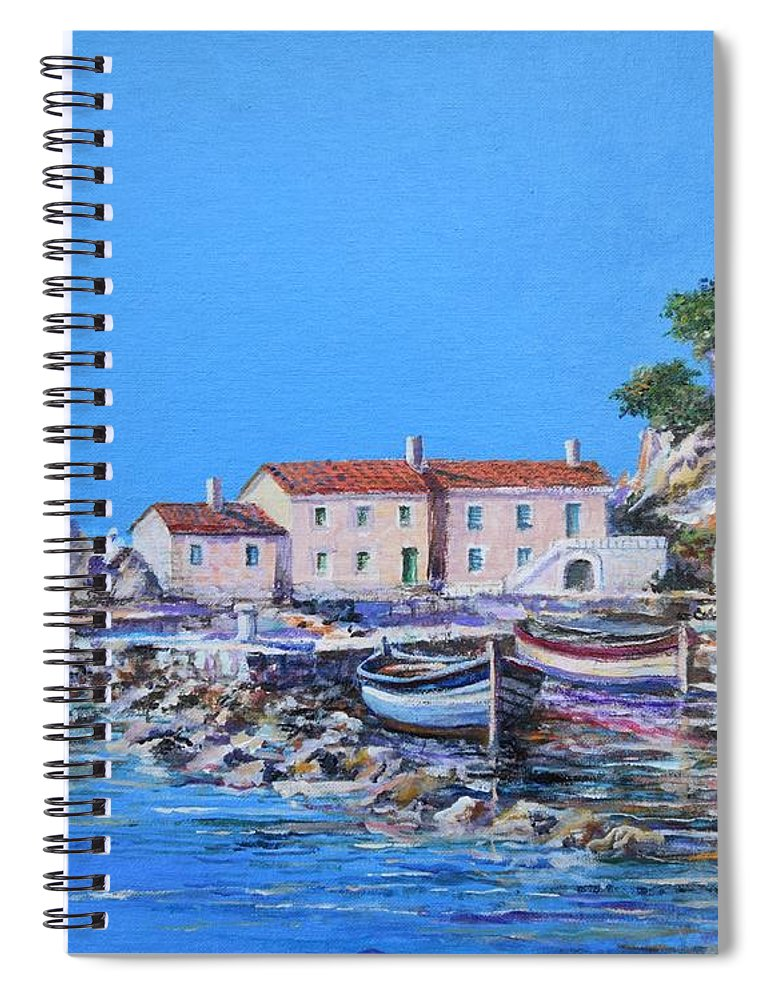 Original Painting Spiral Notebook featuring the painting Blue Bay by Sinisa Saratlic
