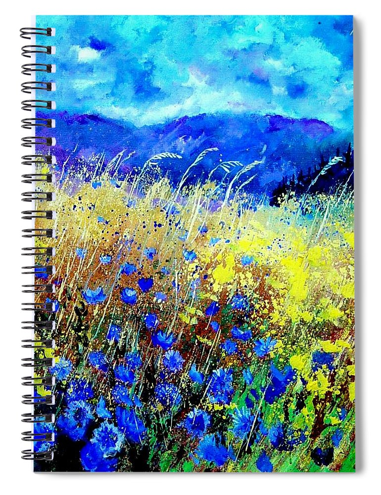 Poppies Spiral Notebook featuring the painting Blue cornflowers 67 by Pol Ledent