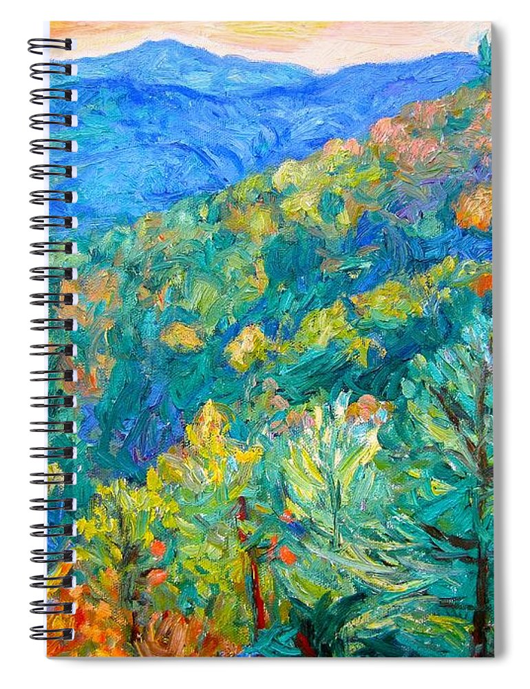 Blue Ridge Mountains Spiral Notebook featuring the painting Blue Ridge Autumn by Kendall Kessler