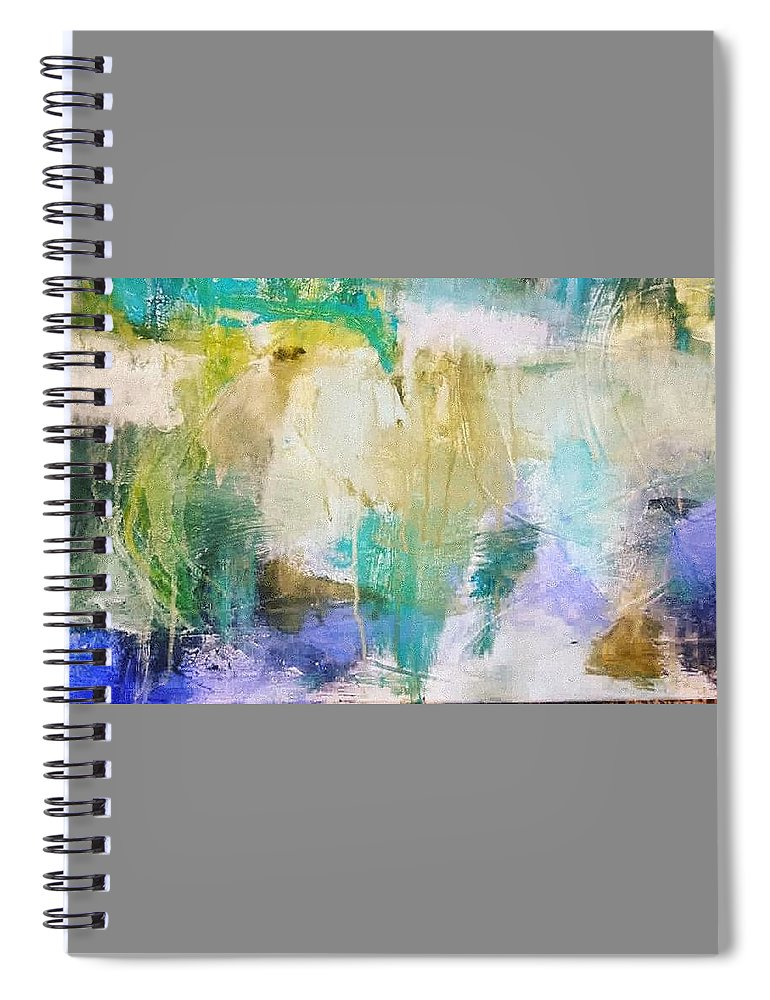Abstract Spiral Notebook featuring the painting Blue, White, Gold by Patricia Byron