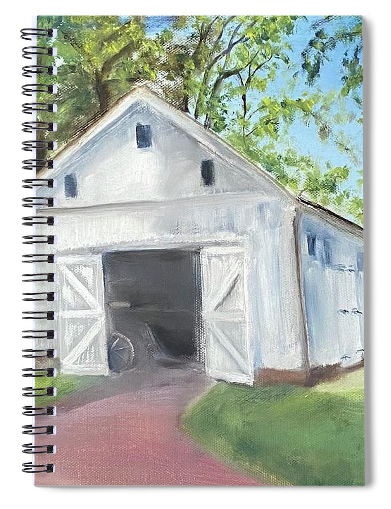 Washington Crossing Spiral Notebook featuring the painting Boat Barn by Sheila Mashaw