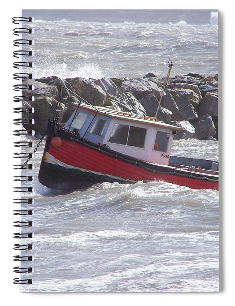 Boats Spiral Notebook featuring the photograph Bobbing boat by Christopher Rowlands