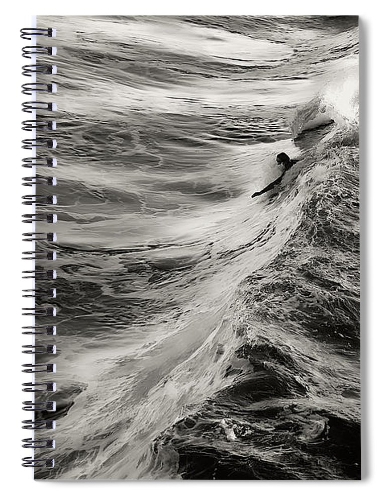 Body Surfer Spiral Notebook featuring the photograph Body Surfing by Zayne Diamond Photographic