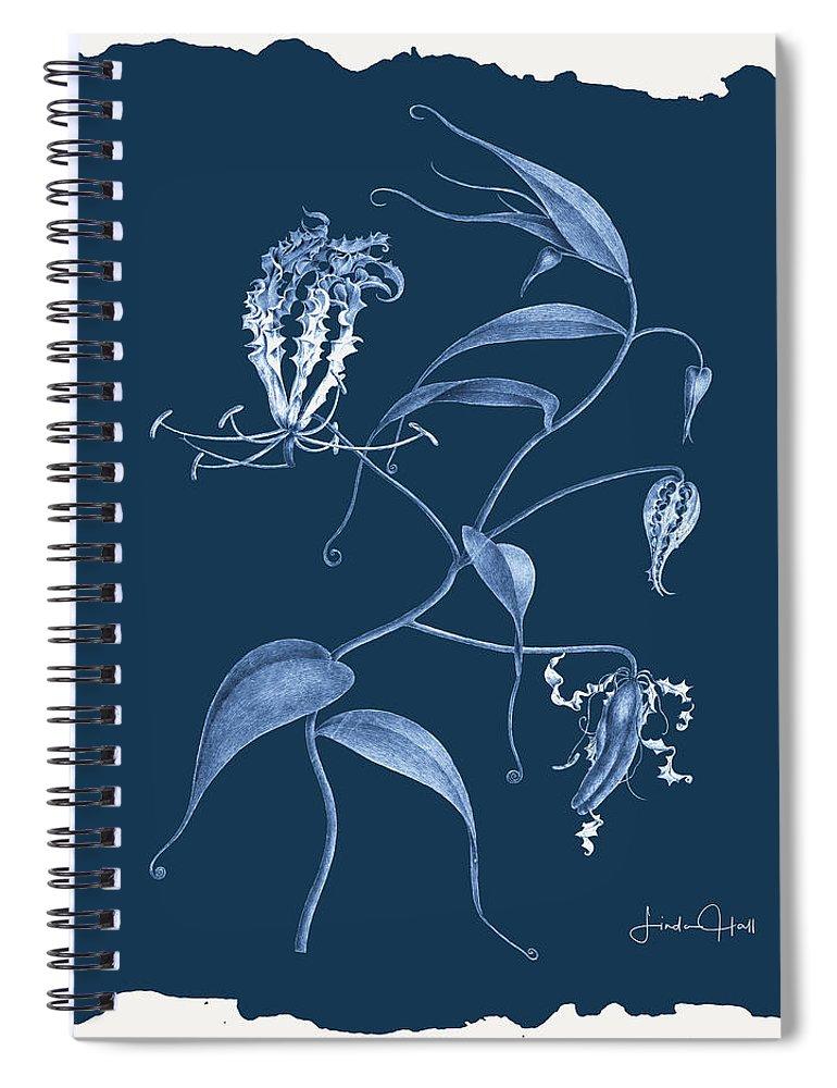 Digital Spiral Notebook featuring the digital art Botanical Cyanotype Series No. Seven by Linda Lee Hall