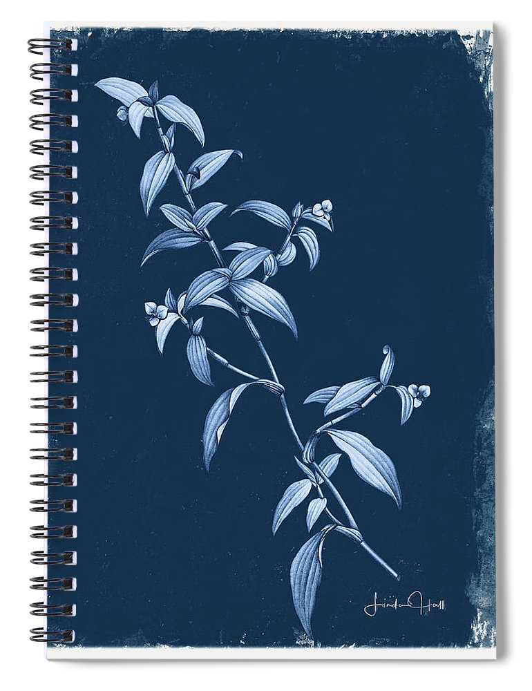 Digital Spiral Notebook featuring the digital art Botanical Cyanotype Series No. Three by Linda Lee Hall