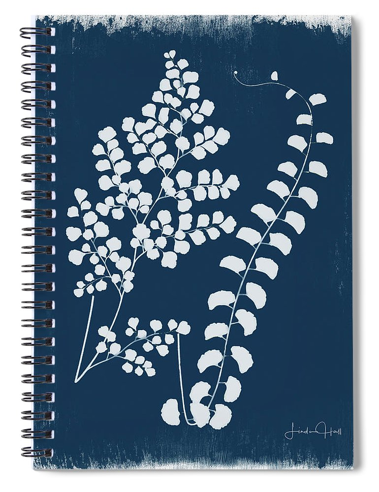 Digital Spiral Notebook featuring the digital art Botanical Cyanotype Series No. Two by Linda Lee Hall