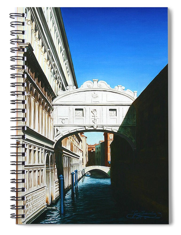 Bridge Of Sighs Spiral Notebook featuring the painting Bridge Of Sighs Venice Italy by Gary Hernandez