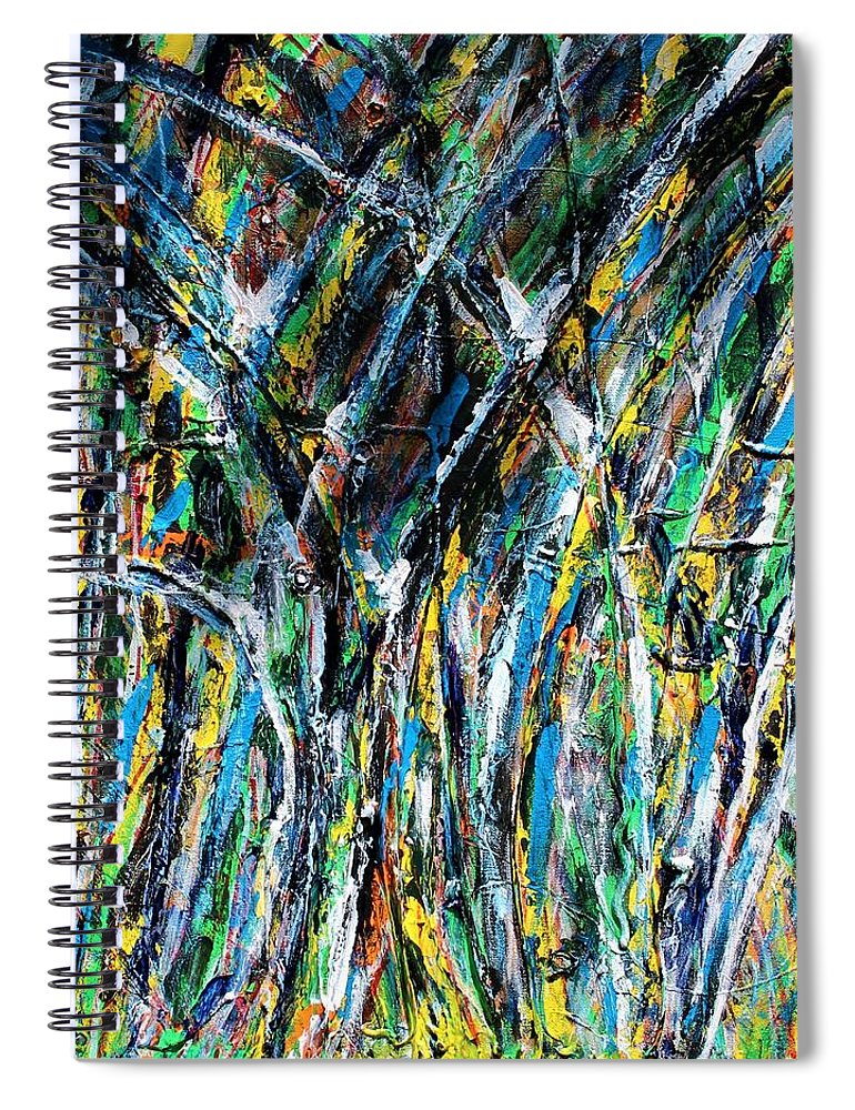 Blue Spiral Notebook featuring the painting Bright Summer Day by Pam Roth O'Mara