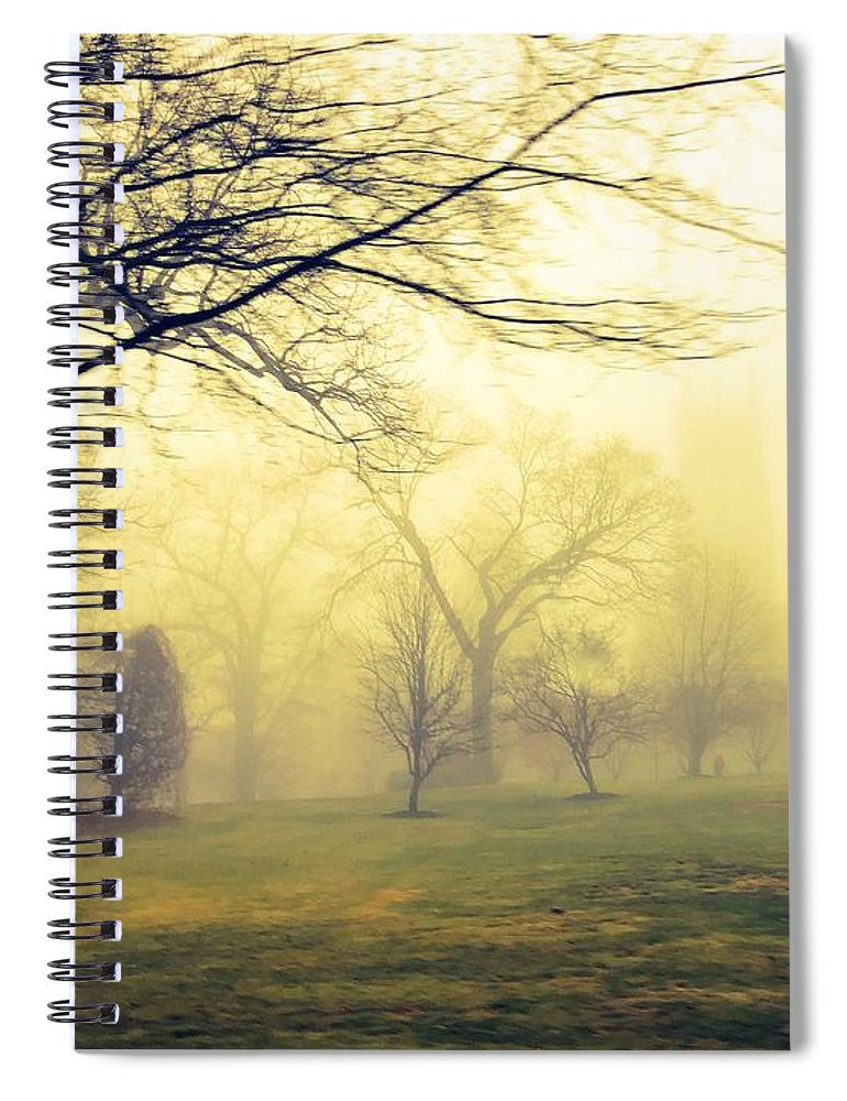 Mist Spiral Notebook featuring the photograph Bryn Athyn Drive By by Eddy Mann