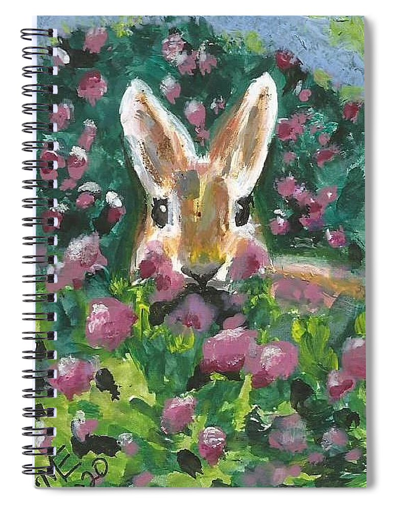 Bunny Painting Spiral Notebook featuring the painting Bunny by Monica Resinger