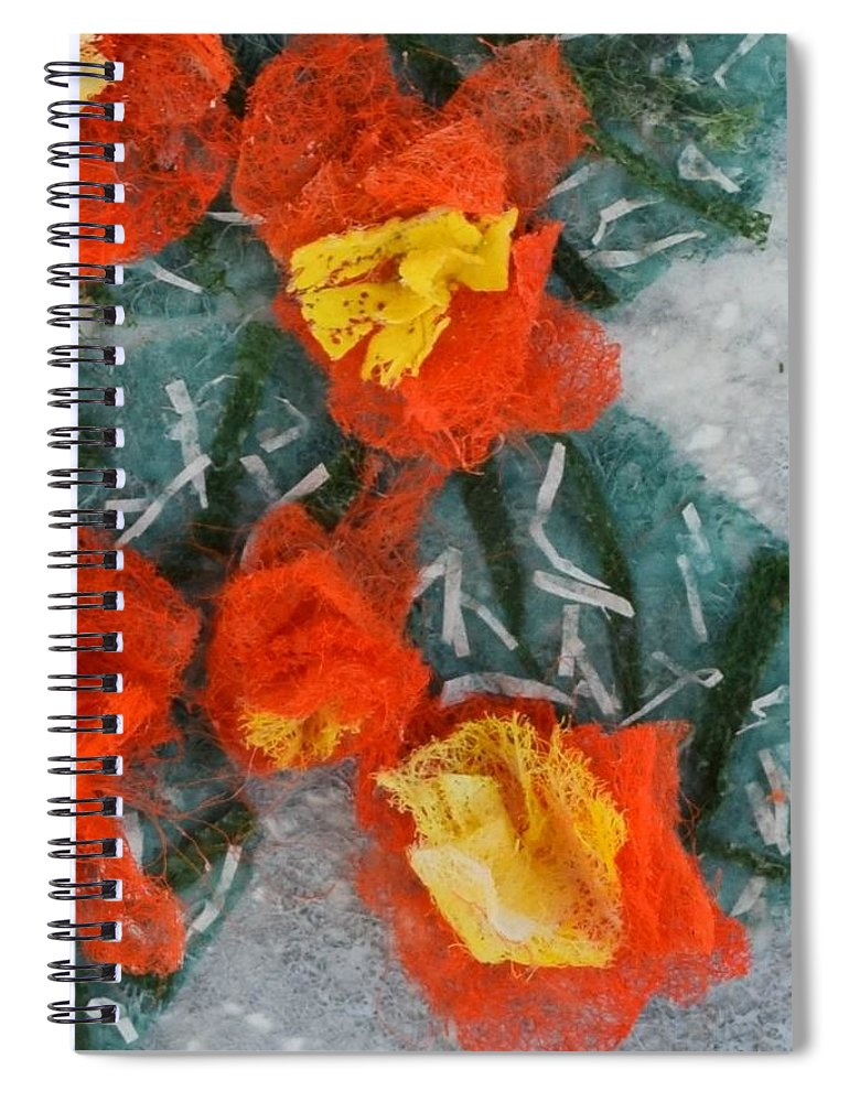 Dryer Sheets Spiral Notebook featuring the mixed media Cactus Flowers by Charla Van Vlack