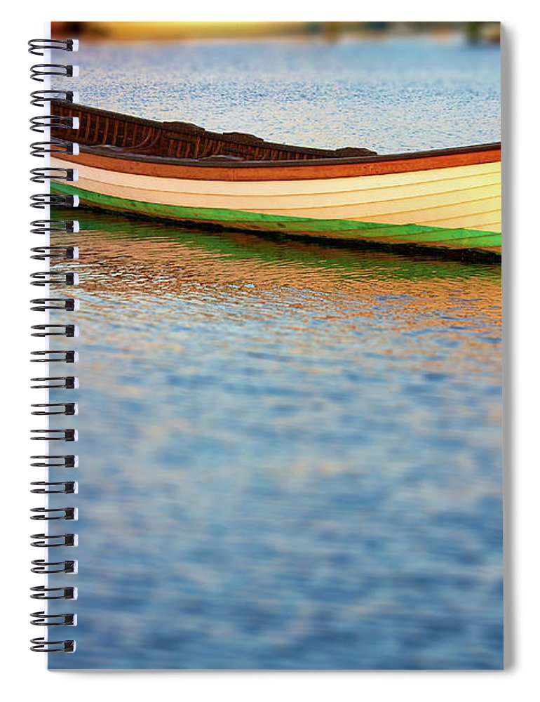 Canoe Spiral Notebook featuring the photograph Canoe In Harbor 1 by Tony Cordoza